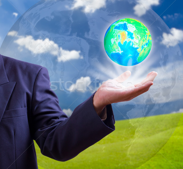 earth globe in hand Stock photo © tungphoto