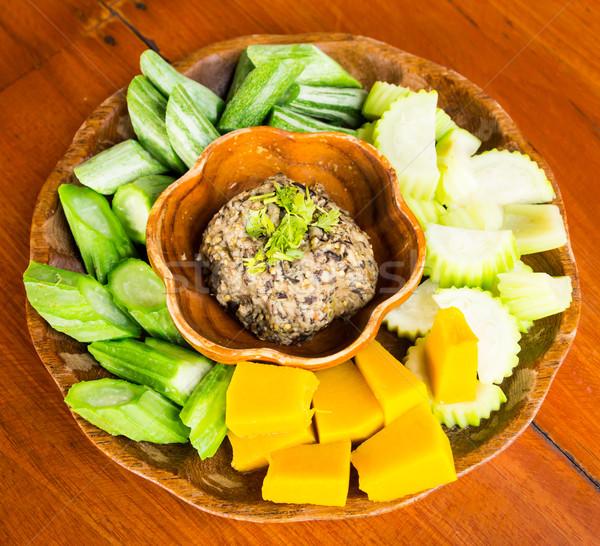 Gomba chili mártás zöldség thai étel növény Stock fotó © tungphoto