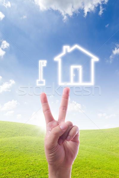 Stock fotó: Kéz · mutat · kulcs · ház · ikon · terv