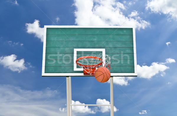 Basketbol mavi gökyüzü yaz uzay takım egzersiz Stok fotoğraf © tungphoto