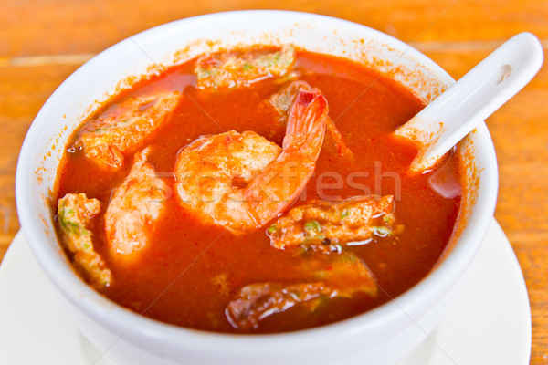 Karides sebze turuncu köri lezzetli tay gıda Stok fotoğraf © tungphoto