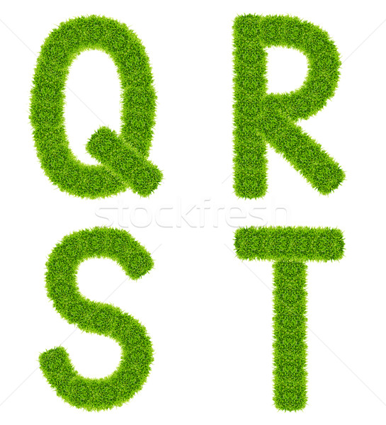 Stock photo: green grass letter qrst isolated