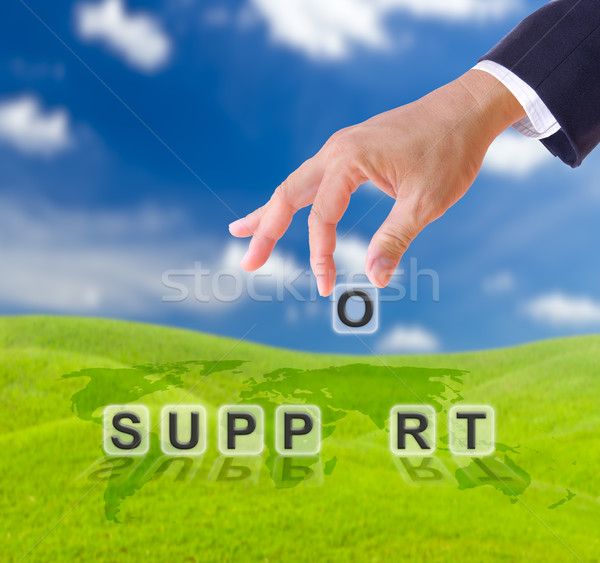 business man hand and support word Stock photo © tungphoto