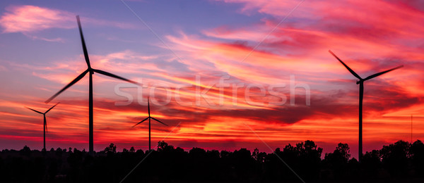 silhouette wind turbine with dusk clean energy concept Stock photo © tungphoto