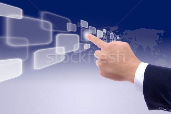hand pushing button Stock photo © tungphoto