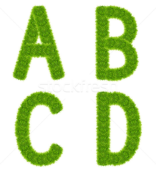 green grass letter abcd isolated Stock photo © tungphoto