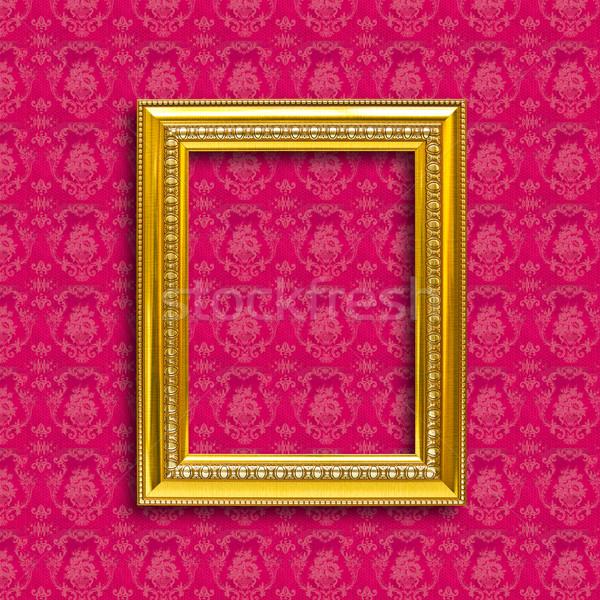Keret arany fa tapéta piros háttér Stock fotó © tungphoto