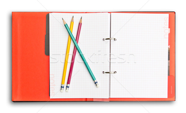 red notebook and pencil isolated with clipping path Stock photo © tungphoto