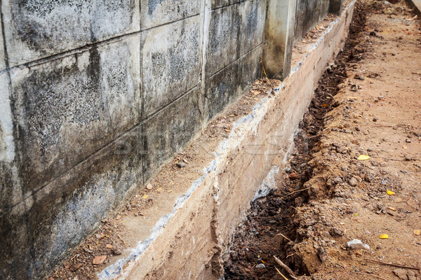 crack cement wall and road Stock photo © tungphoto