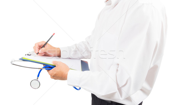 Lekarza piśmie papieru odizolowany strony Zdjęcia stock © tungphoto