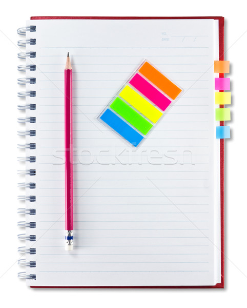 red notebook , pencil and set of indexing  Stock photo © tungphoto
