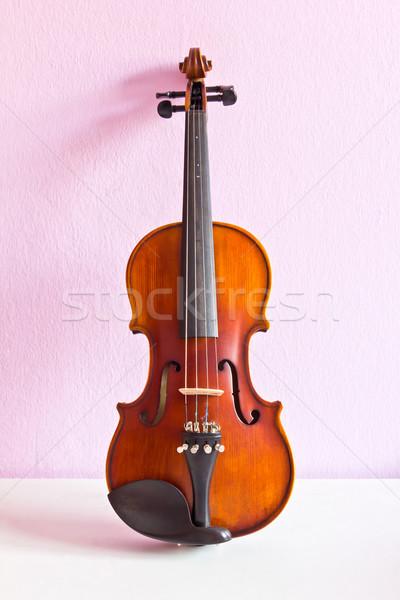 violin on pink wall Stock photo © tungphoto