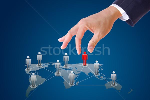 ビジネスマン 手 プッシング 人 社会的ネットワーク 男 ストックフォト © tungphoto