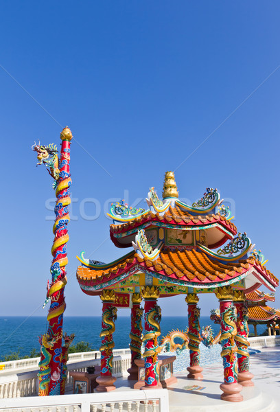 dragon pavilion against blue sky in chinese temple Stock photo © tungphoto