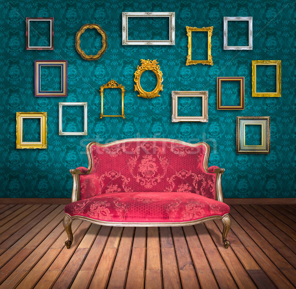 Vintage luxe fauteuil frame kamer ruimte Stockfoto © tungphoto