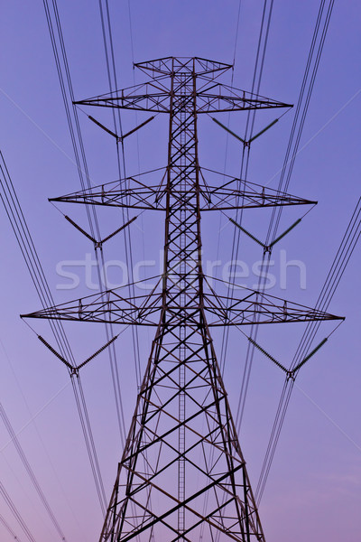 Elektrische hoogspanning macht hemel technologie frame Stockfoto © tungphoto