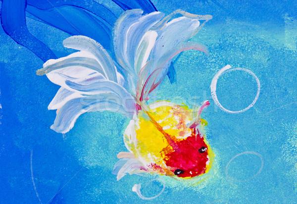 Boyama akvaryum balığı su ağaç balık yaprak Stok fotoğraf © tungphoto