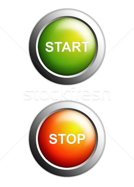 開始 停止 ボタン 孤立した 白 ビジネス ストックフォト © tungphoto