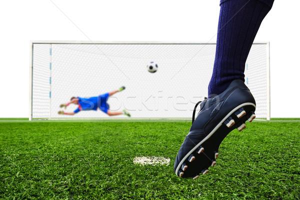 Pie disparo balón de fútbol objetivo pena fútbol Foto stock © tungphoto