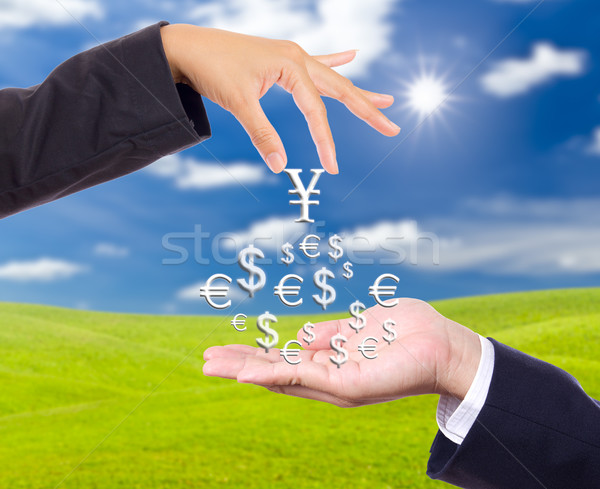 hand bring up big yen sign Stock photo © tungphoto