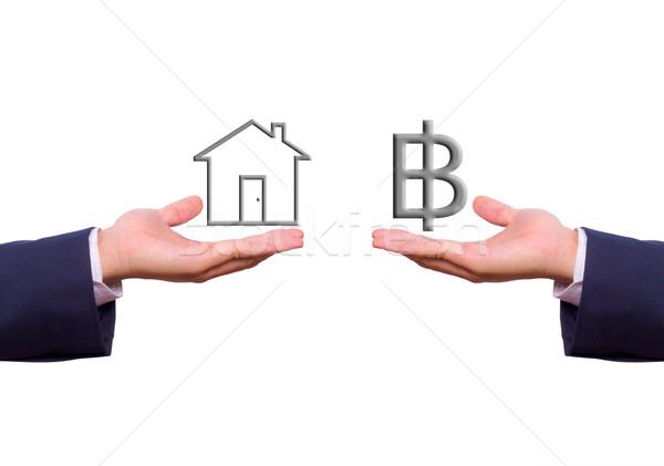 üzletember kéz csere felirat ház ikon Stock fotó © tungphoto
