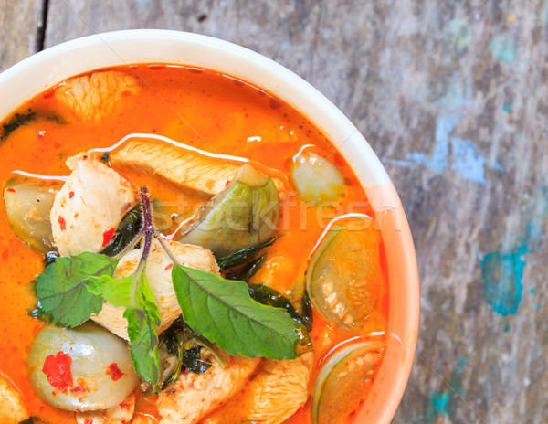 Foto stock: Frango · vermelho · caril · delicioso · thai · cozinha