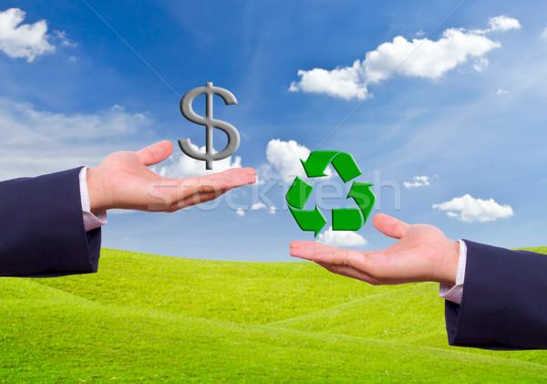 Człowiek biznesu strony wymiany znak dolara recyklingu ikona Zdjęcia stock © tungphoto