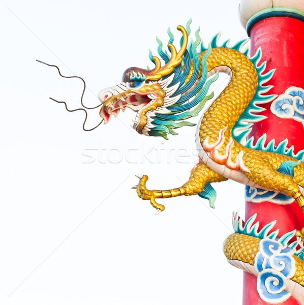 дракон статуя китайский храма путешествия красный Сток-фото © tungphoto