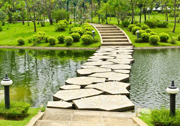 Foto stock: Pedra · parque · aquático · grama · estrada · verão · rocha