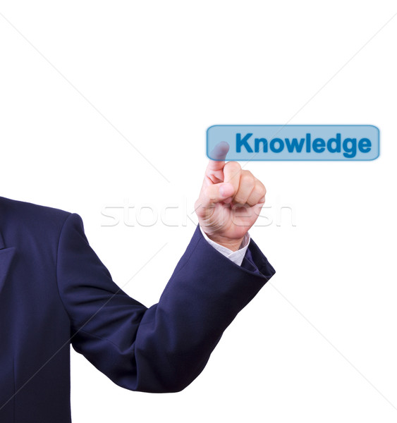 business man hand pushing knowledge button isolated Stock photo © tungphoto