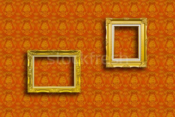 Ramki złoty drewna tapety żółty tekstury Zdjęcia stock © tungphoto