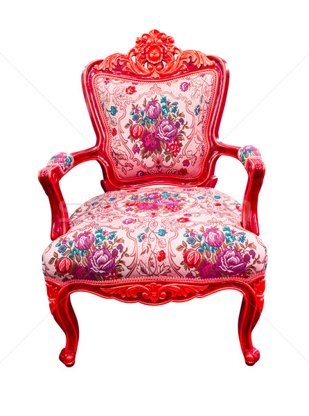 Rood luxe fauteuil geïsoleerd textuur Stockfoto © tungphoto
