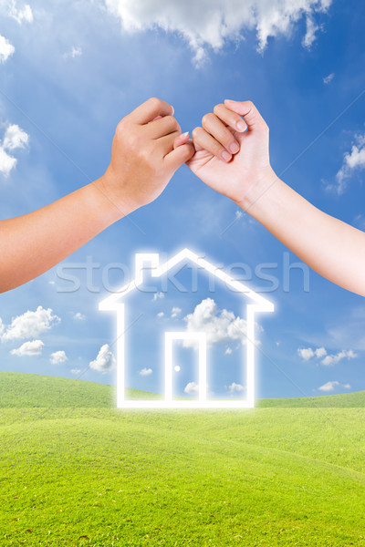 hand linking finger and house icon Stock photo © tungphoto