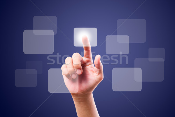 hand pushing button on touch screen Stock photo © tungphoto