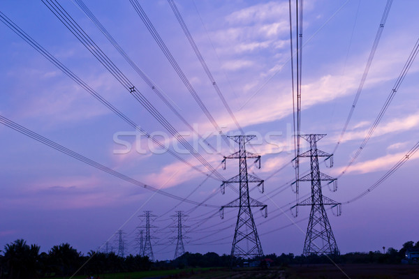 Electric high voltage power post Stock photo © tungphoto