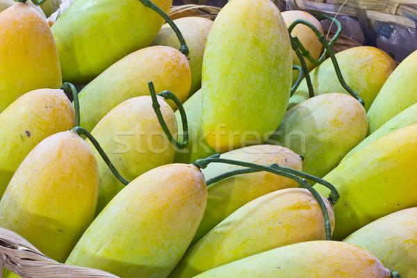Citromsárga mangó bambusz kosár étel természet Stock fotó © tungphoto