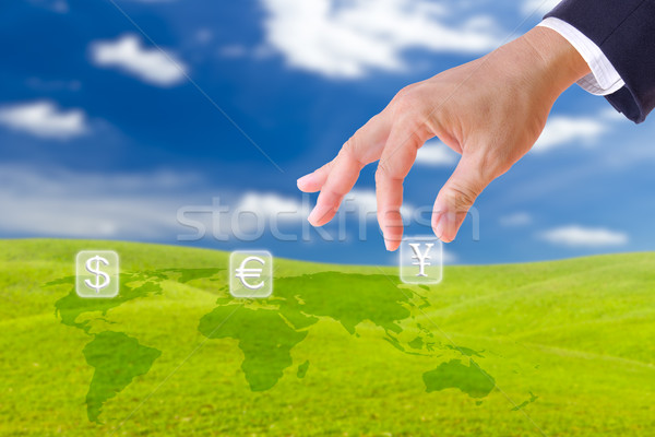 business man hand bring up yen sing button Stock photo © tungphoto