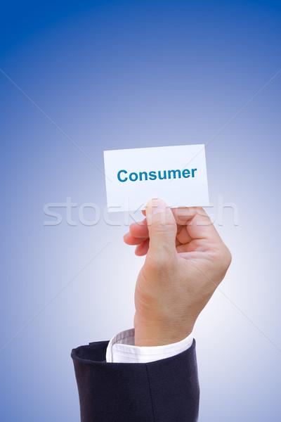 Kéz tart fogyasztó kártya iroda férfi Stock fotó © tungphoto