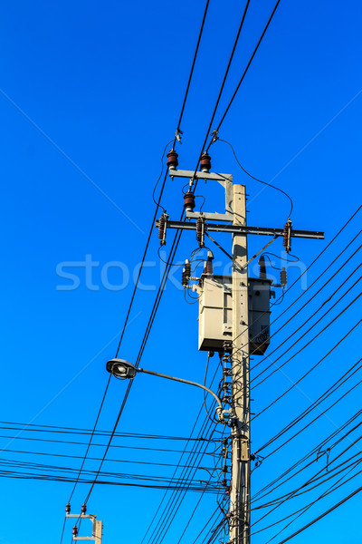 Elektrik transformatör mavi gökyüzü teknoloji çerçeve Stok fotoğraf © tungphoto