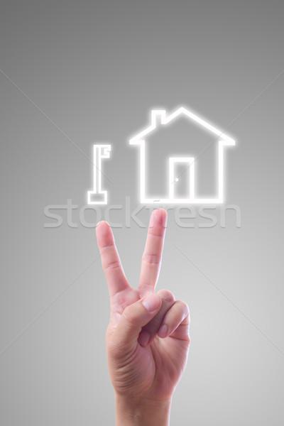 Stock fotó: Kéz · mutat · kulcs · ház · ikon · üzlet