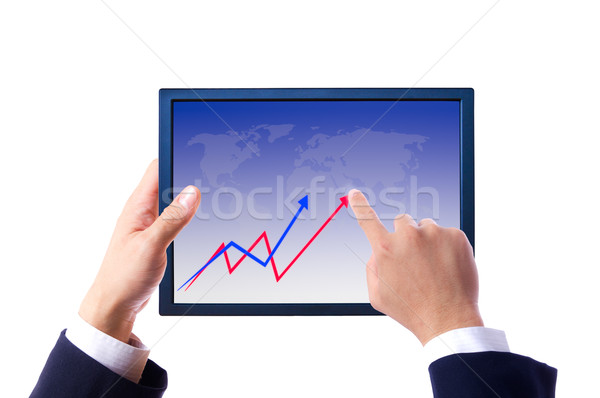 hand bring up the graph on touch pad Stock photo © tungphoto