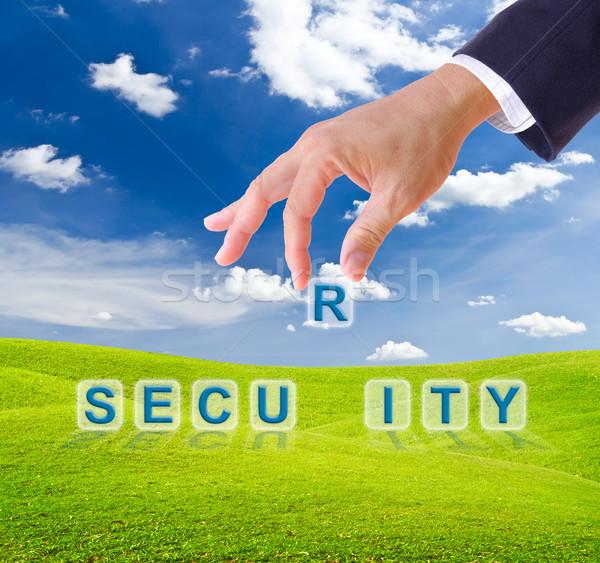 деловой человек стороны безопасности слово Кнопки зеленая трава Сток-фото © tungphoto