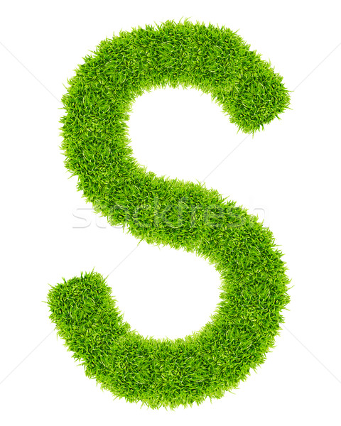 Stock photo: green grass letter S Isolated