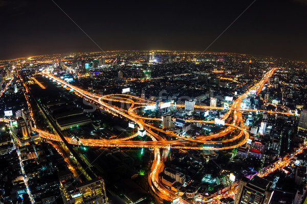 aerial view of expressway in bangkok thailand Stock photo © tungphoto