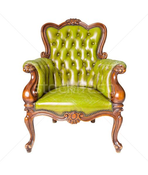 Luxe groene leder fauteuil geïsoleerd mode Stockfoto © tungphoto