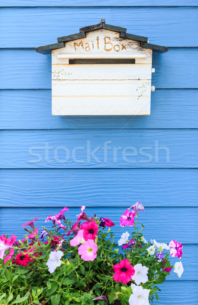wooden mailbox on blue wood wall background Stock photo © tungphoto