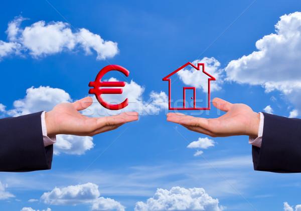 Kéz csere Euro felirat ikon pénz Stock fotó © tungphoto