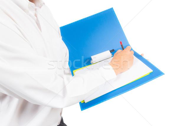 üzletember ír notebook munka toll üzletember Stock fotó © tungphoto