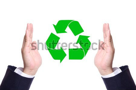 Homme d'affaires main recycler signe vert monde Photo stock © tungphoto
