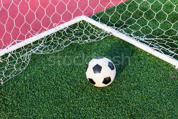Balón de fútbol hierba verde objetivo neto fútbol deporte Foto stock © tungphoto